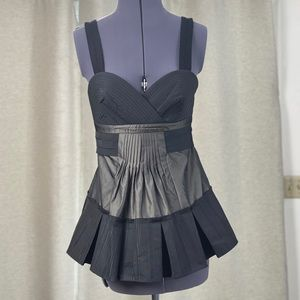 Satin feel black and grey top